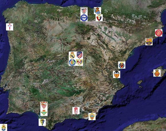Club Foot Espagne Carte.Liga Liste Et Localisation Des 20 Clubs De Primera Division