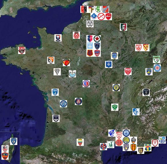 Ligue 1 Carte de France des clubs 1932-2011